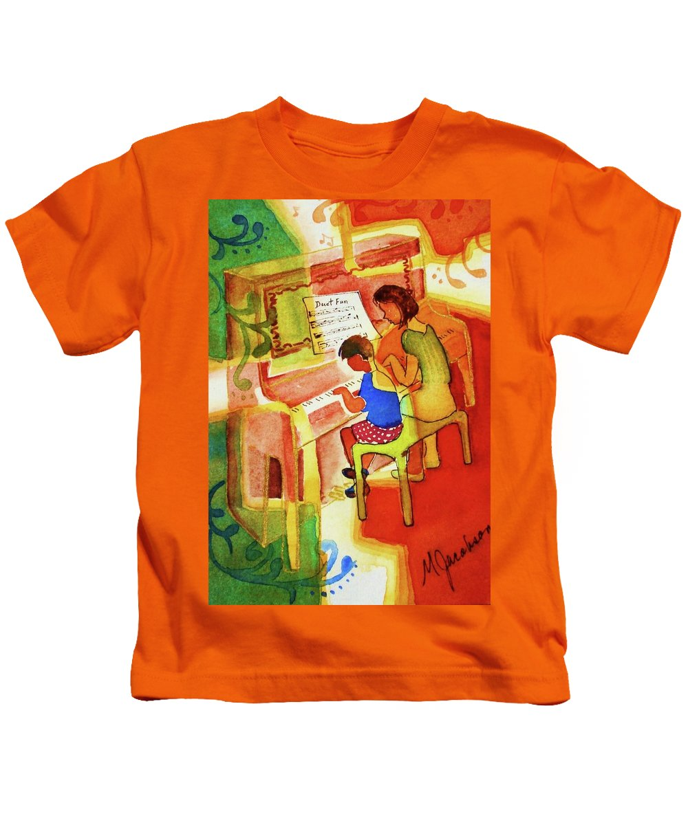 Piano Kids T-Shirt featuring the painting Love A Piano 2 by Marilyn Jacobson