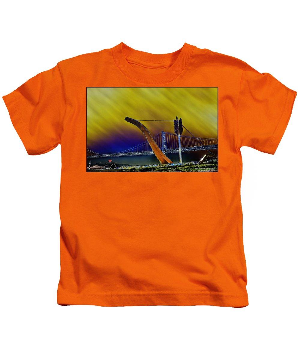 Cupid's Span Kids T-Shirt featuring the photograph Love At Cupid's Span San Francisco Bay Bridge by LeeAnn McLaneGoetz McLaneGoetzStudioLLCcom