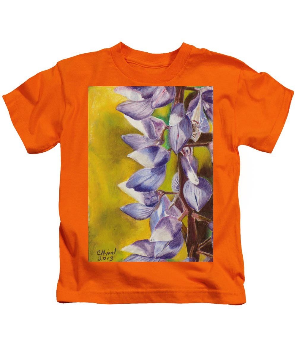 Lupine Kids T-Shirt featuring the painting Lupine Time by Cindy Hierl