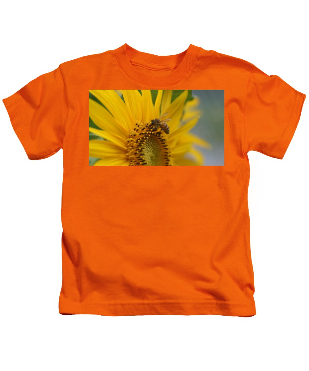 Bee Kids T-Shirt featuring the photograph Macro Of Bee On Sunflower...  # by Rob Luzier