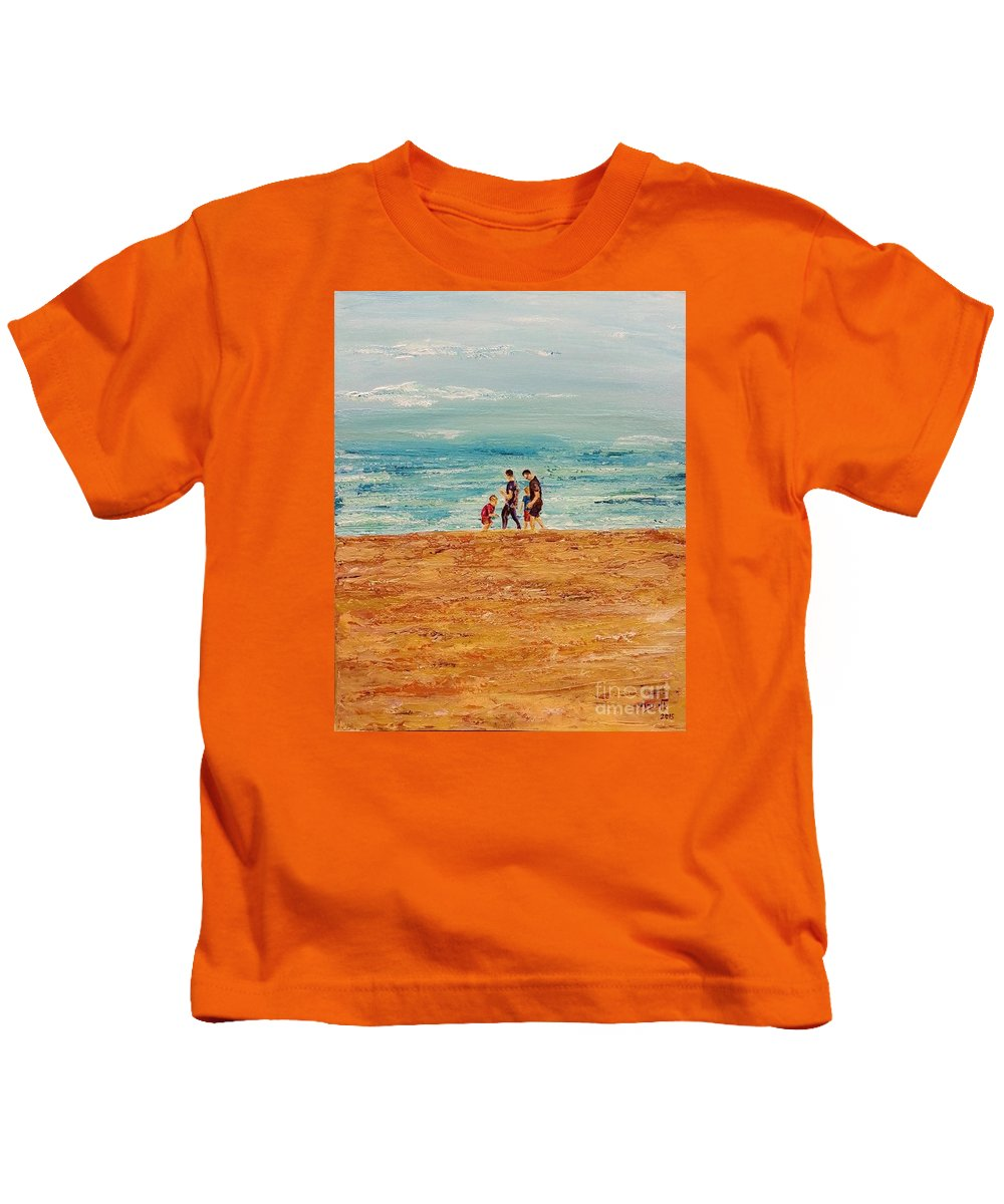 Landscape Kids T-Shirt featuring the painting Manly Seashore Sydney by Eli Gross