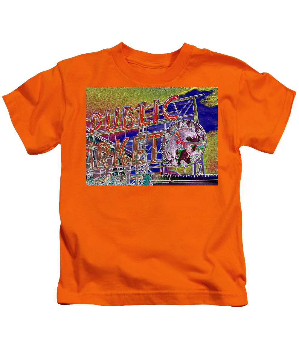 Seattle Kids T-Shirt featuring the digital art Market Clock 1 by Tim Allen