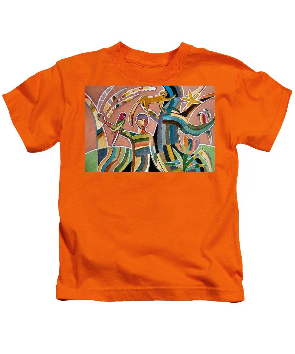 Menino Na Amazonia Ii Kids T-Shirt featuring the painting Menino Na Amazonia II by Marcio Melo