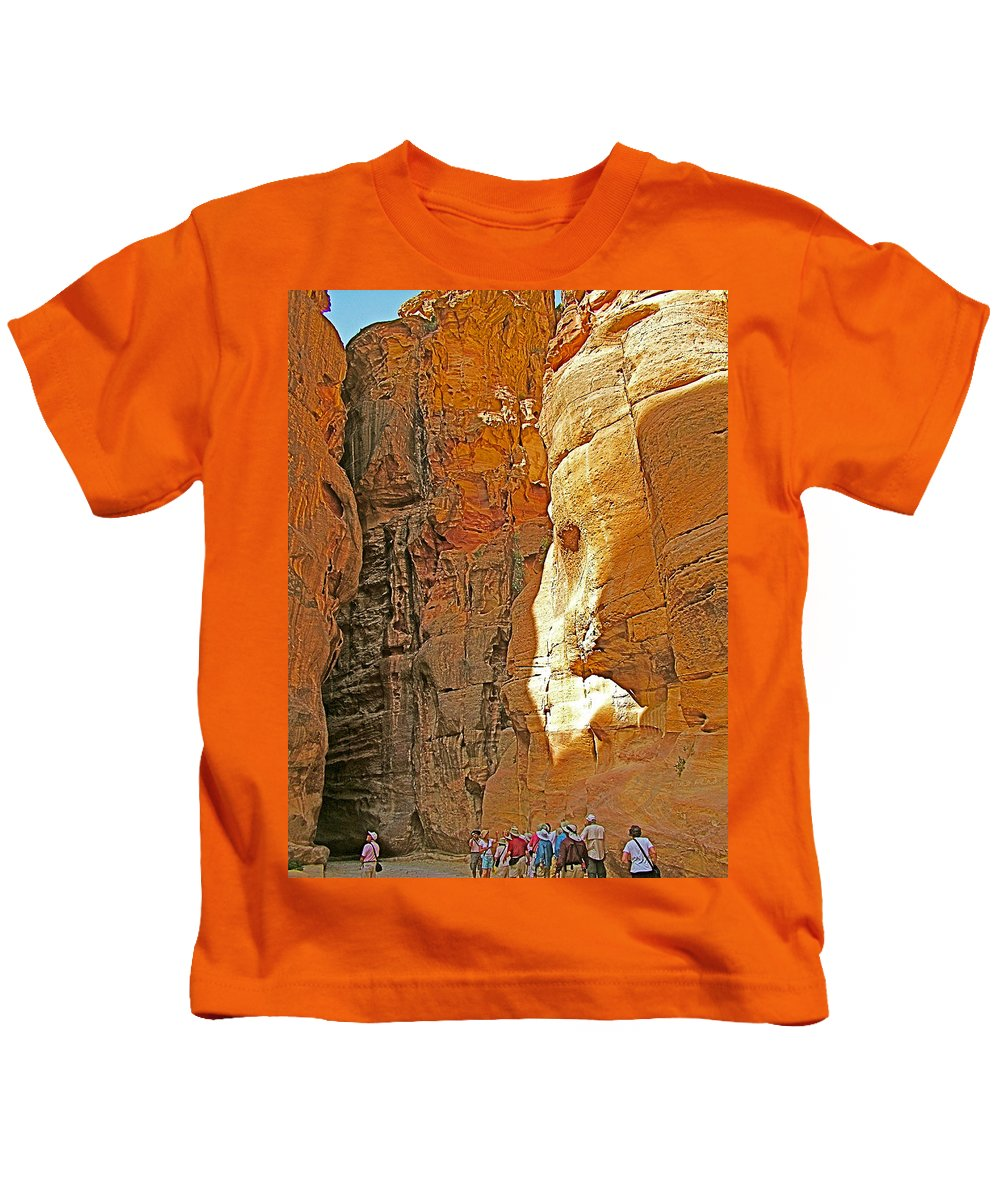 Mile-long Canyon Leads Through 600 Foot Deep Gorge To The Treasury In Petra Kids T-Shirt featuring the photograph Mile-long Canyon Leads Through 600 Foot Deep Gorge To The Treasury In Petra-jordan by Ruth Hager