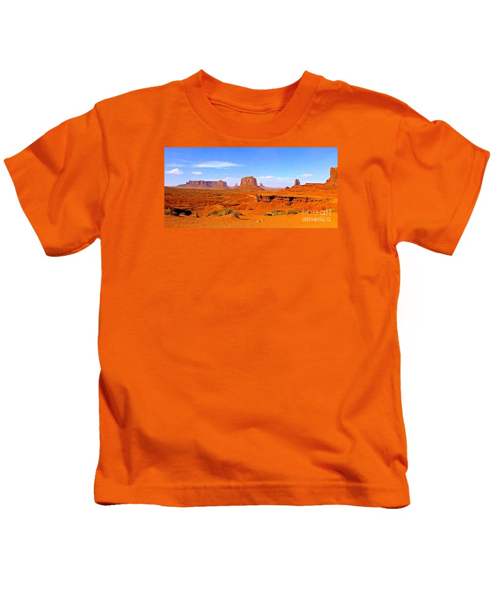 Monument Valley Kids T-Shirt featuring the photograph Monument Valley - Panorama by Barbara Zahno