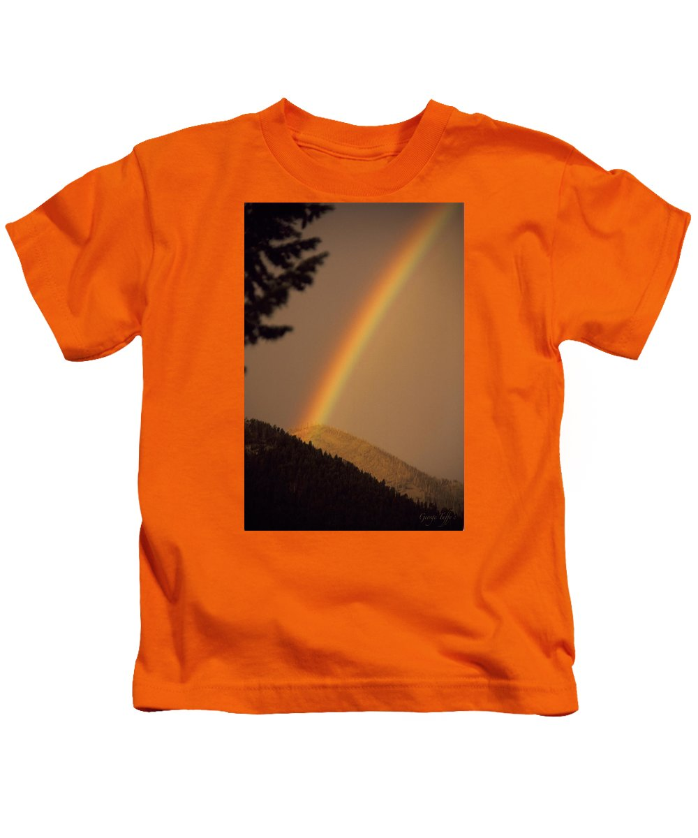 Rainbow Weather Sky Sugarloafmountain Simple Zen Colorado Rocky Mountains Kids T-Shirt featuring the photograph Morning Rainbow by George Tuffy