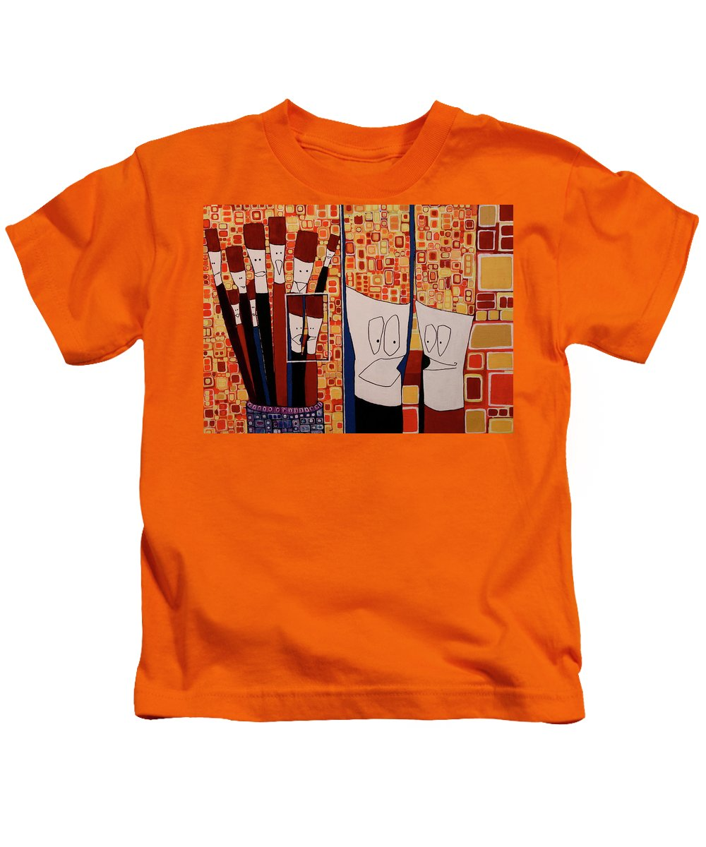 Colorful Kids T-Shirt featuring the painting My Brushes Are Talking About Me by Donna Howard