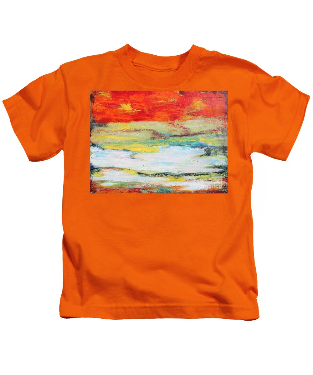 Painting Kids T-Shirt featuring the painting Mystic River-jp2476 by Jean Plout