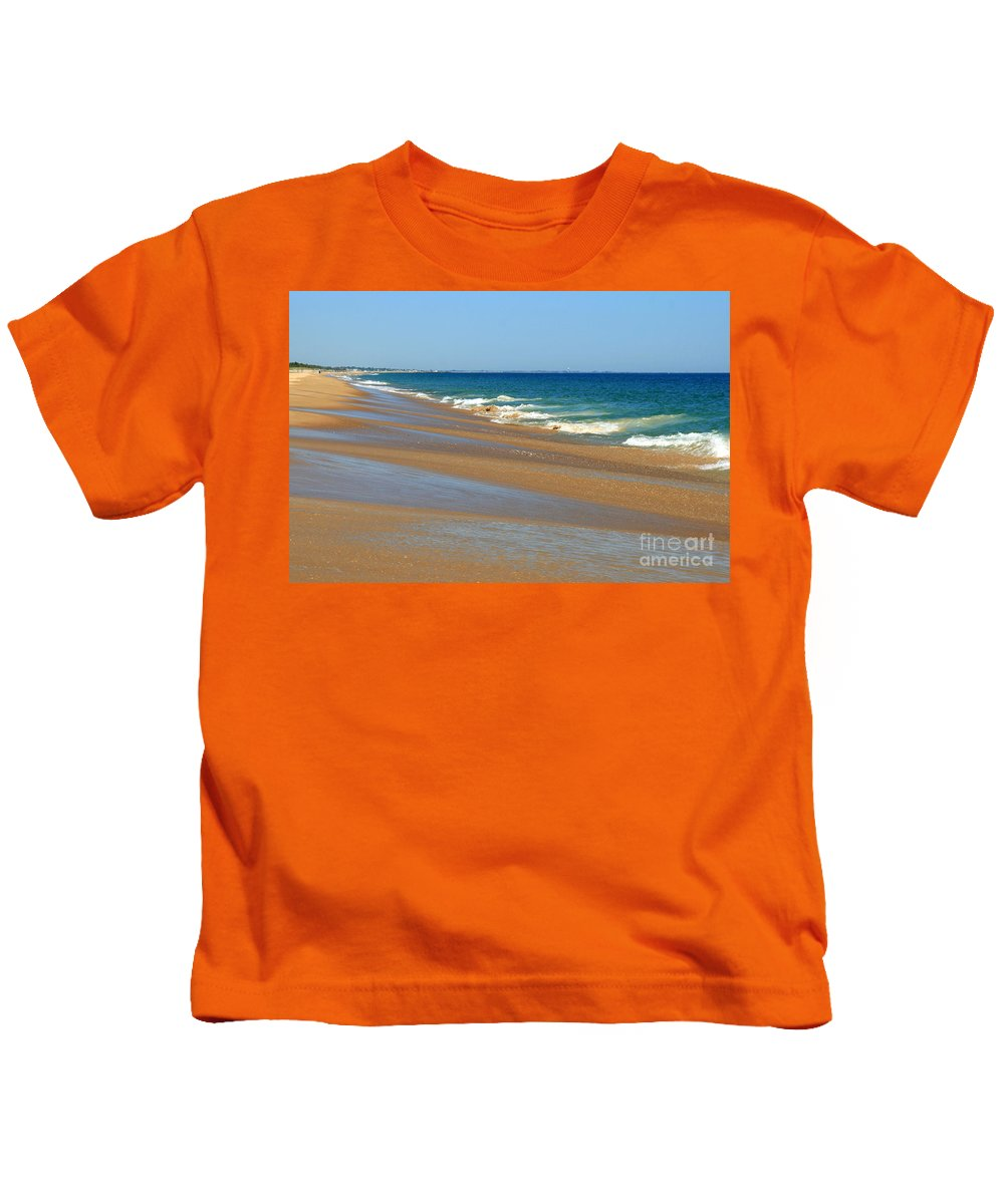 Ocean Art Kids T-Shirt featuring the photograph Ocean Lines by Neal Eslinger