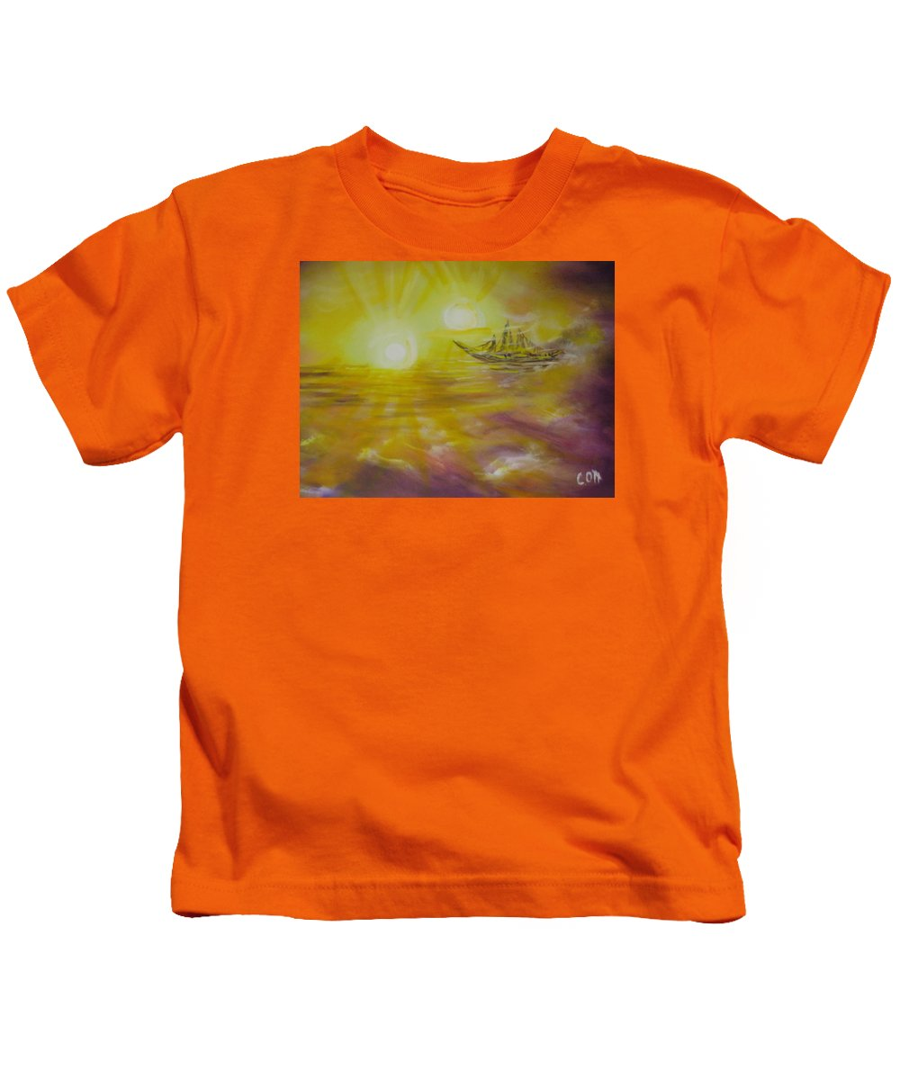 Yacht Kids T-Shirt featuring the painting Ol' Ship Of Zion by Calvin Ott