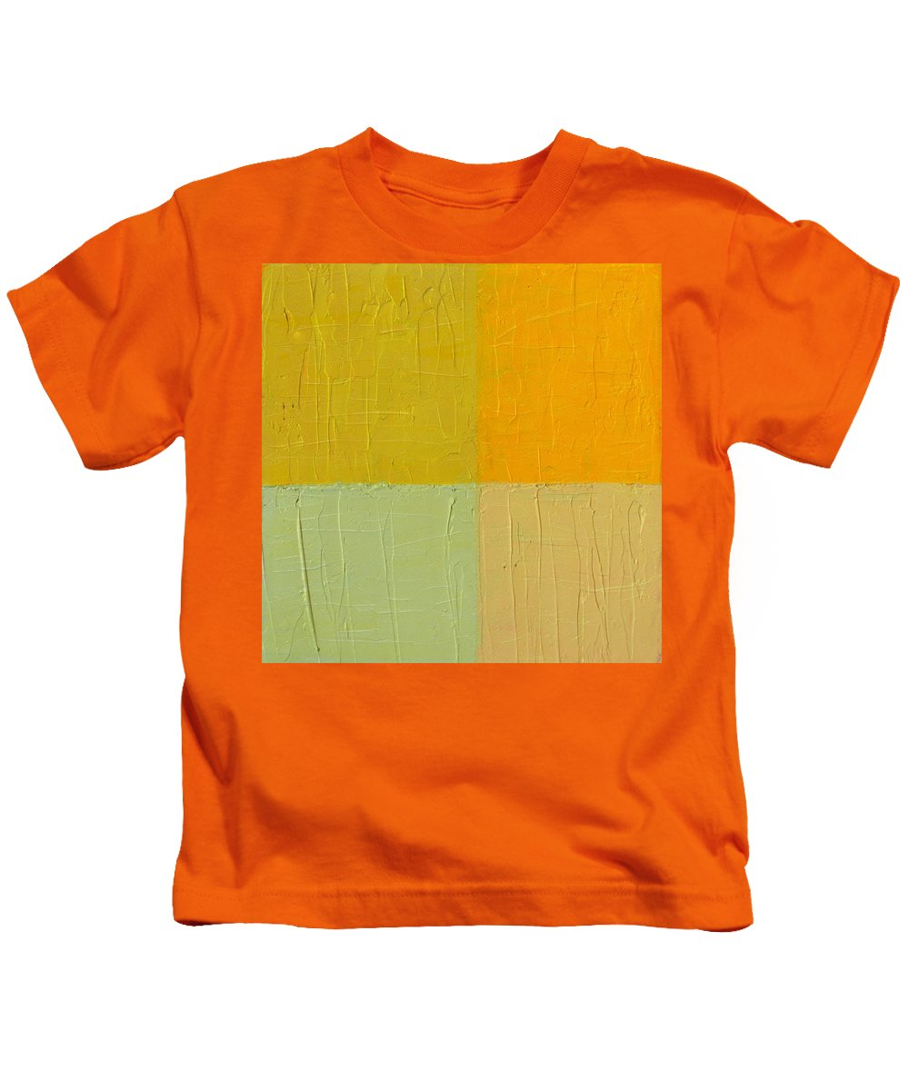 Paint Kids T-Shirt featuring the painting Orange And Mint by Michelle Calkins