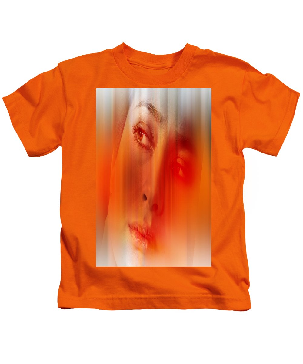 Abstract Kids T-Shirt featuring the digital art Orange Beauty by Nathan Wright
