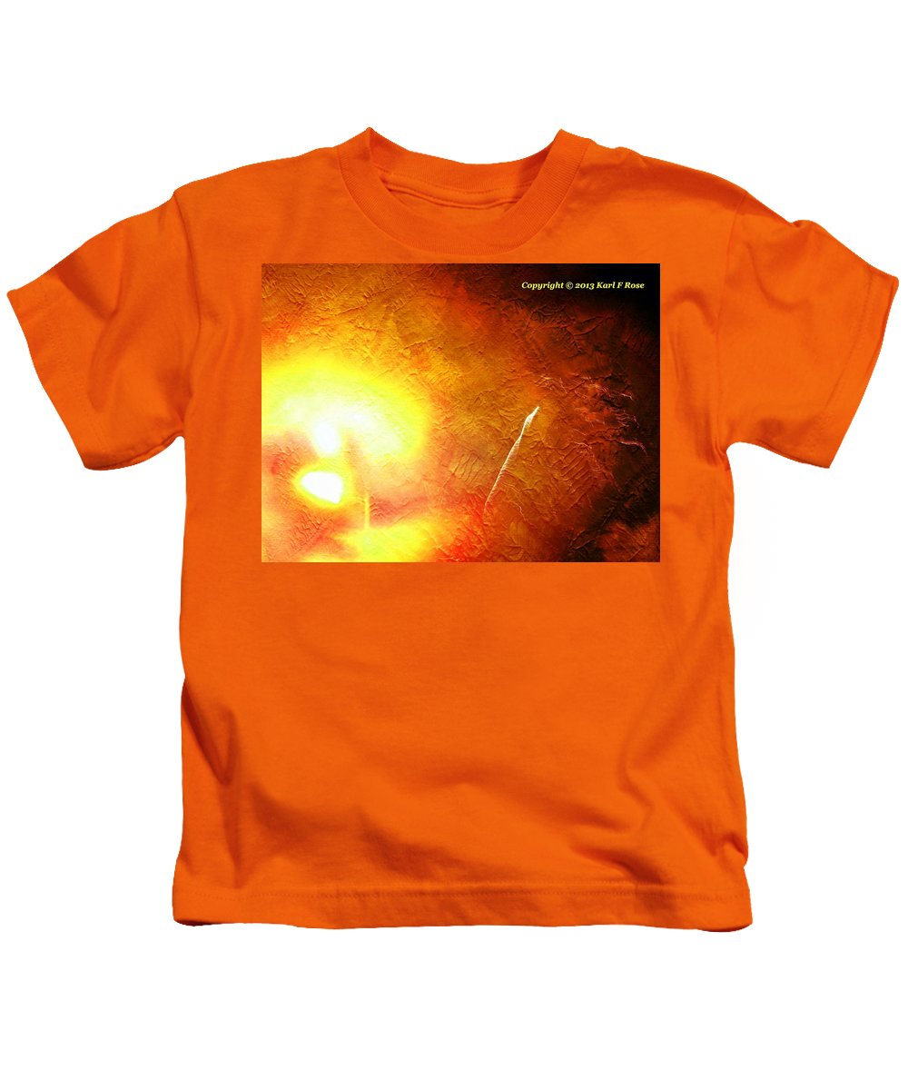 Art Kids T-Shirt featuring the photograph Orange Fireworks by Karl Rose