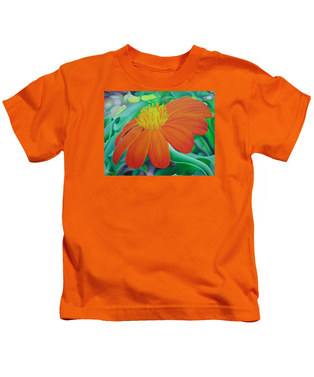Flowers Kids T-Shirt featuring the painting Orange Flower by Joshua Morton
