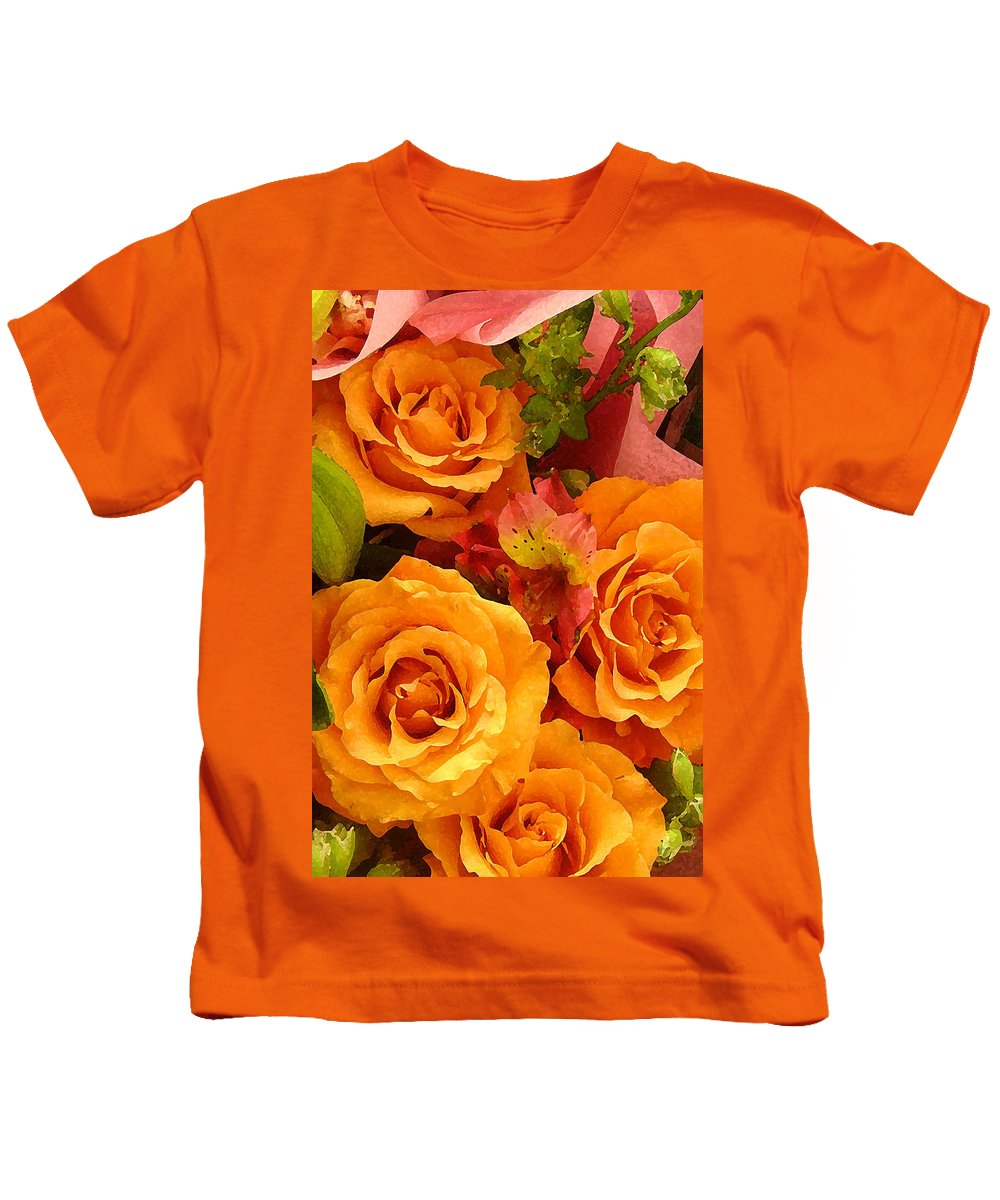 Roses Kids T-Shirt featuring the painting Orange Roses by Amy Vangsgard