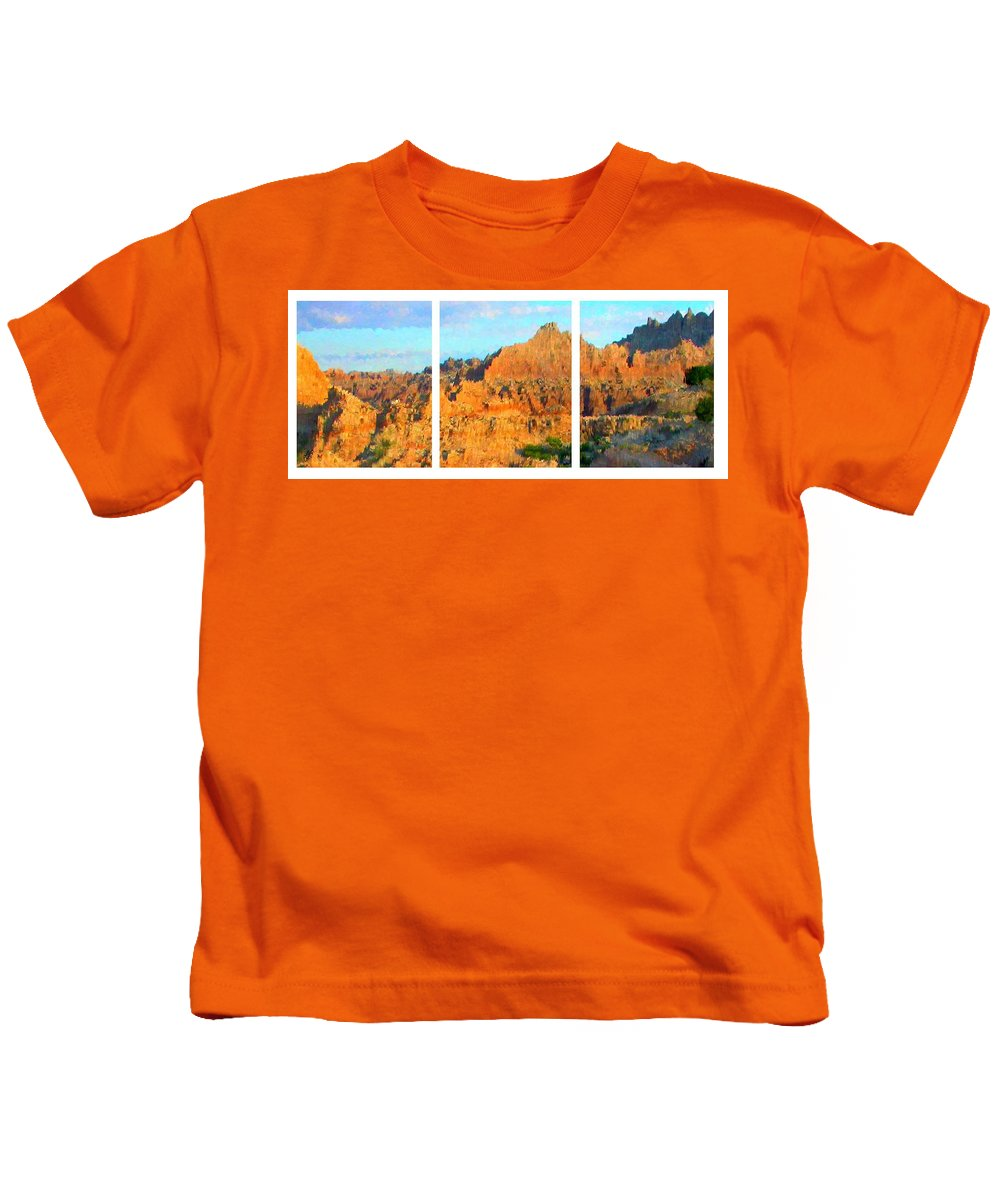 Canyon Kids T-Shirt featuring the painting Panels Of A Canyon by Bruce Nutting