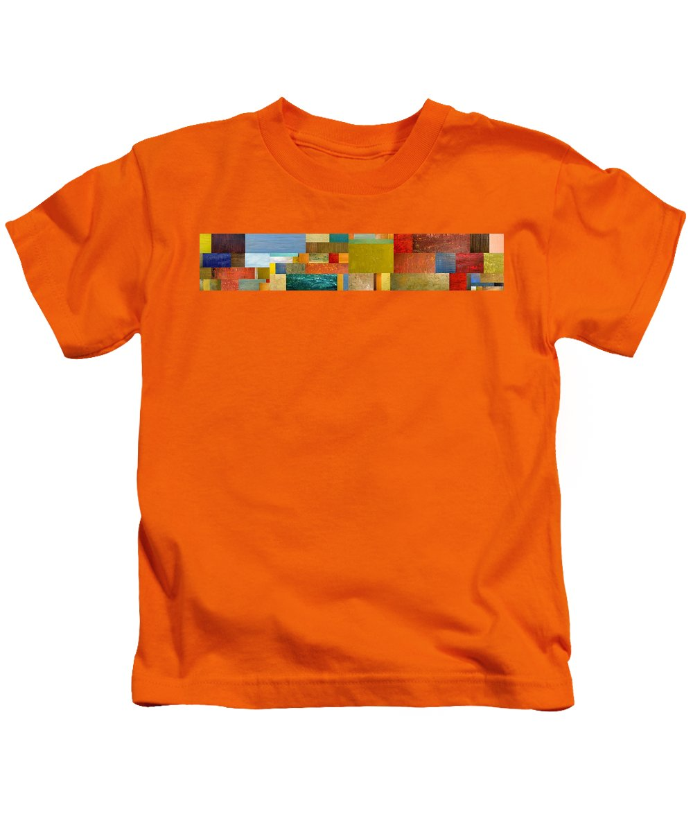 Skinny Kids T-Shirt featuring the painting Pieces Project Lv by Michelle Calkins