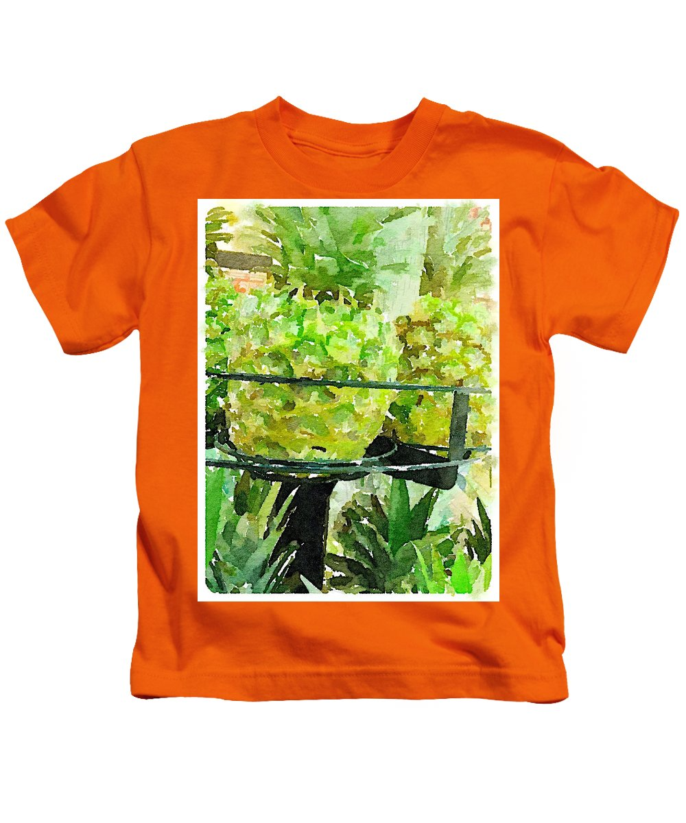 Waterlogue Kids T-Shirt featuring the digital art Pineapple Green by Shannon Grissom