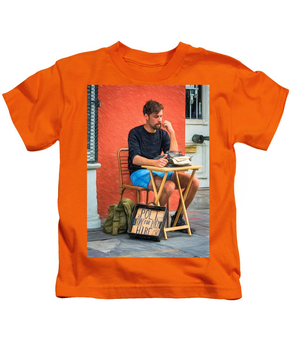 Antoine Kids T-Shirt featuring the photograph Poet For Hire - Paint by Steve Harrington