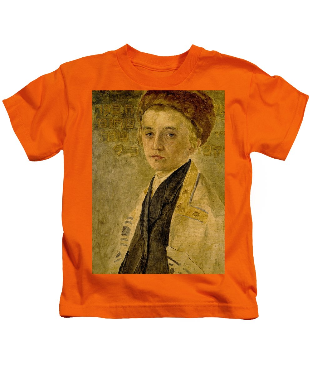 Portrait Of A Jewish Boy Kids T-Shirt featuring the painting Portrait Of A Jewish Boy by Isidor Kaufmann