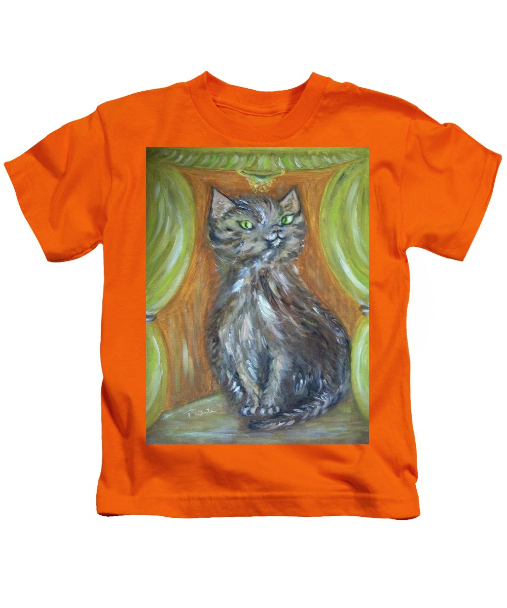 Cat Kids T-Shirt featuring the painting Princess Kitty by Teresa White