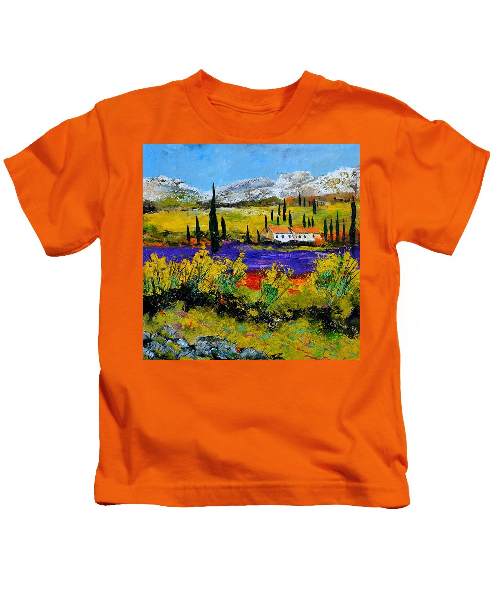 Landscape Kids T-Shirt featuring the painting Provence 885120 by Pol Ledent