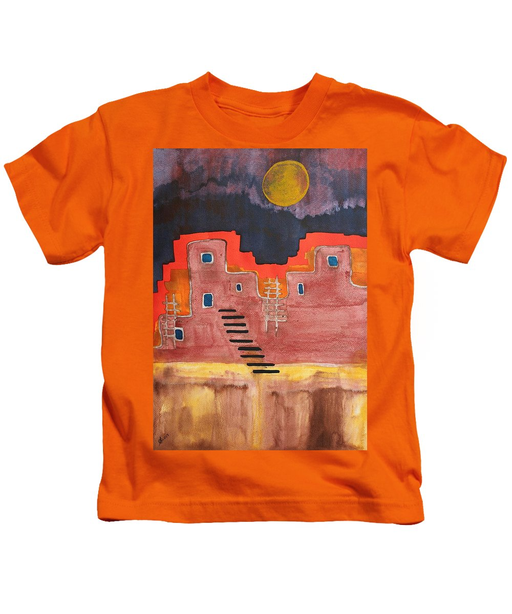Pueblo Kids T-Shirt featuring the painting Pueblito Original Painting by Sol Luckman