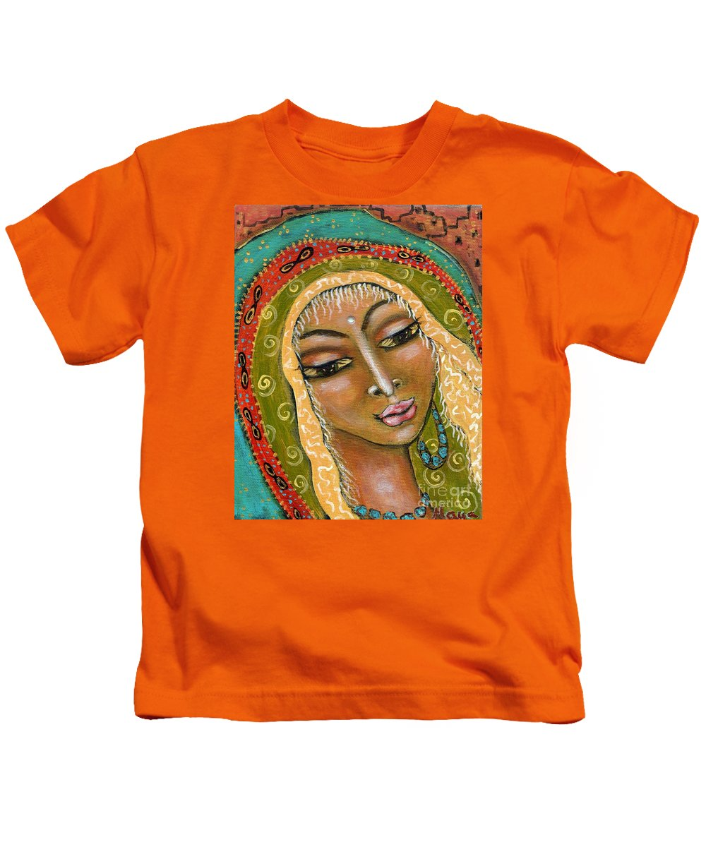 Great Mother Kids T-Shirt featuring the painting Pueblo Priestess by Maya Telford