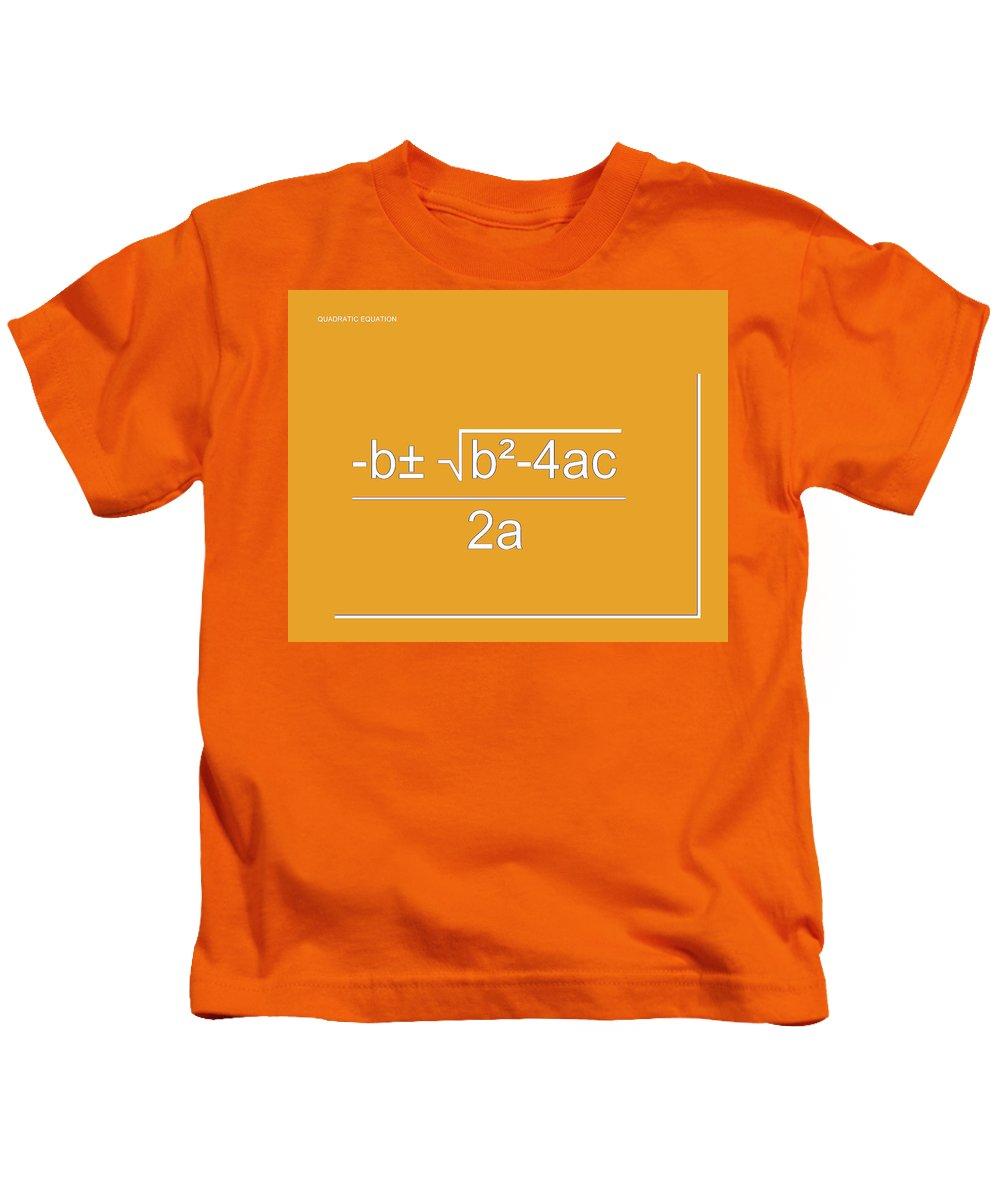 Featured Kids T-Shirt featuring the digital art Quadratic Equation Orange-white by Paulette B Wright