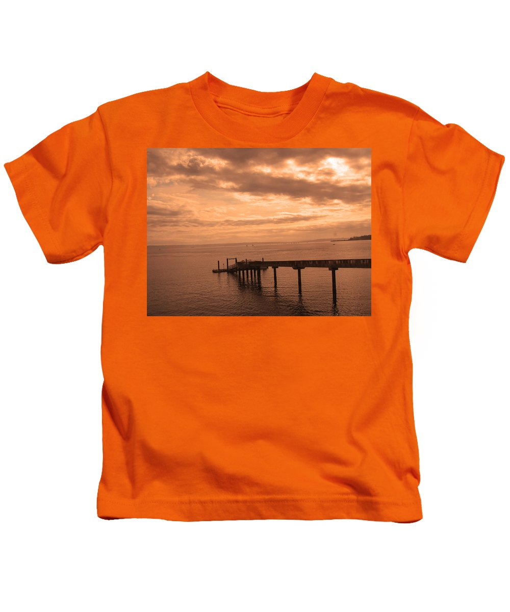 Washington Pier Kids T-Shirt featuring the photograph Quiet Peachy Toned Pier by Kym Backland