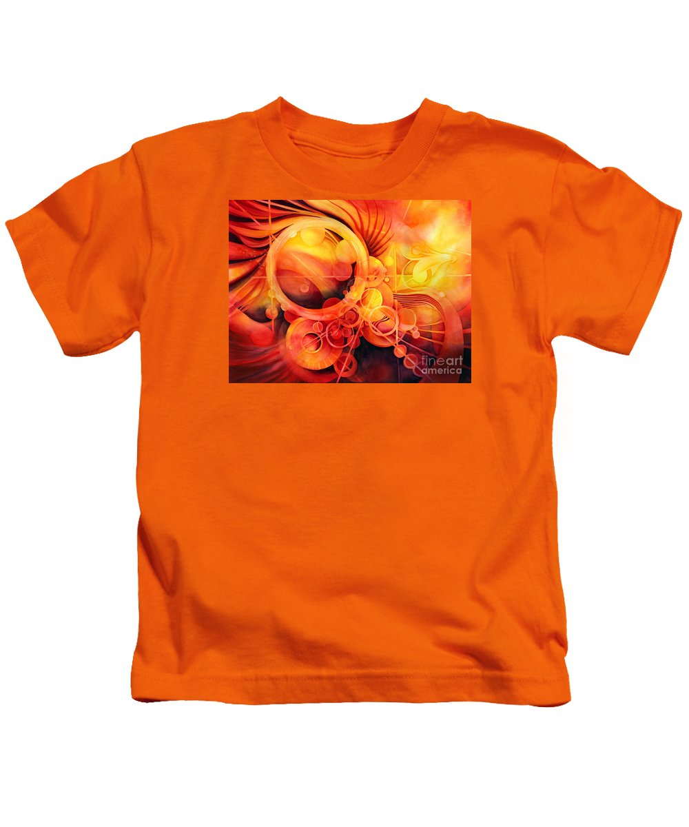 Watercolor Kids T-Shirt featuring the painting Rebirth - Phoenix by Hailey E Herrera