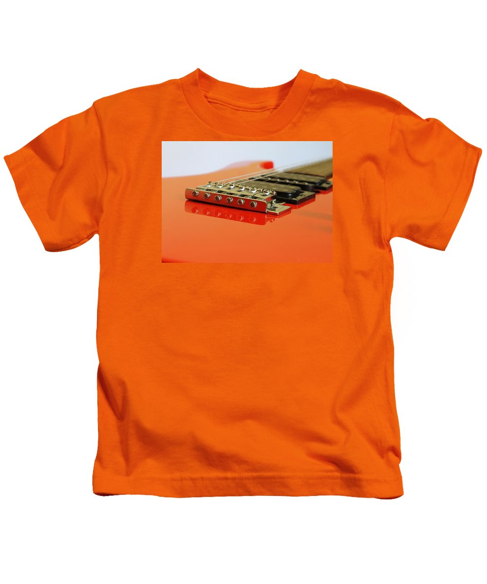 Guitar Kids T-Shirt featuring the photograph Red Giutar by FL collection