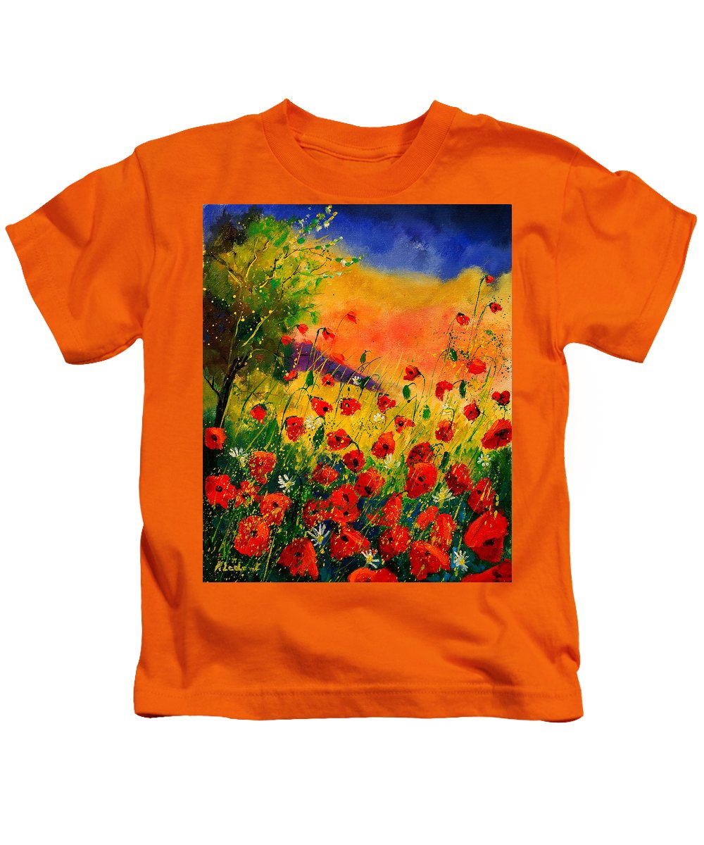 Poppies Kids T-Shirt featuring the painting Red Poppies 45 by Pol Ledent