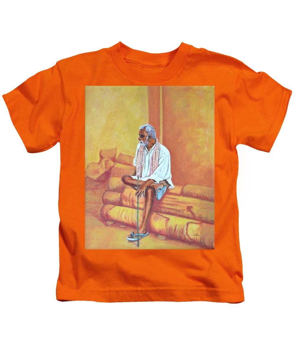 Usha Kids T-Shirt featuring the painting Reminiscing by Usha Shantharam