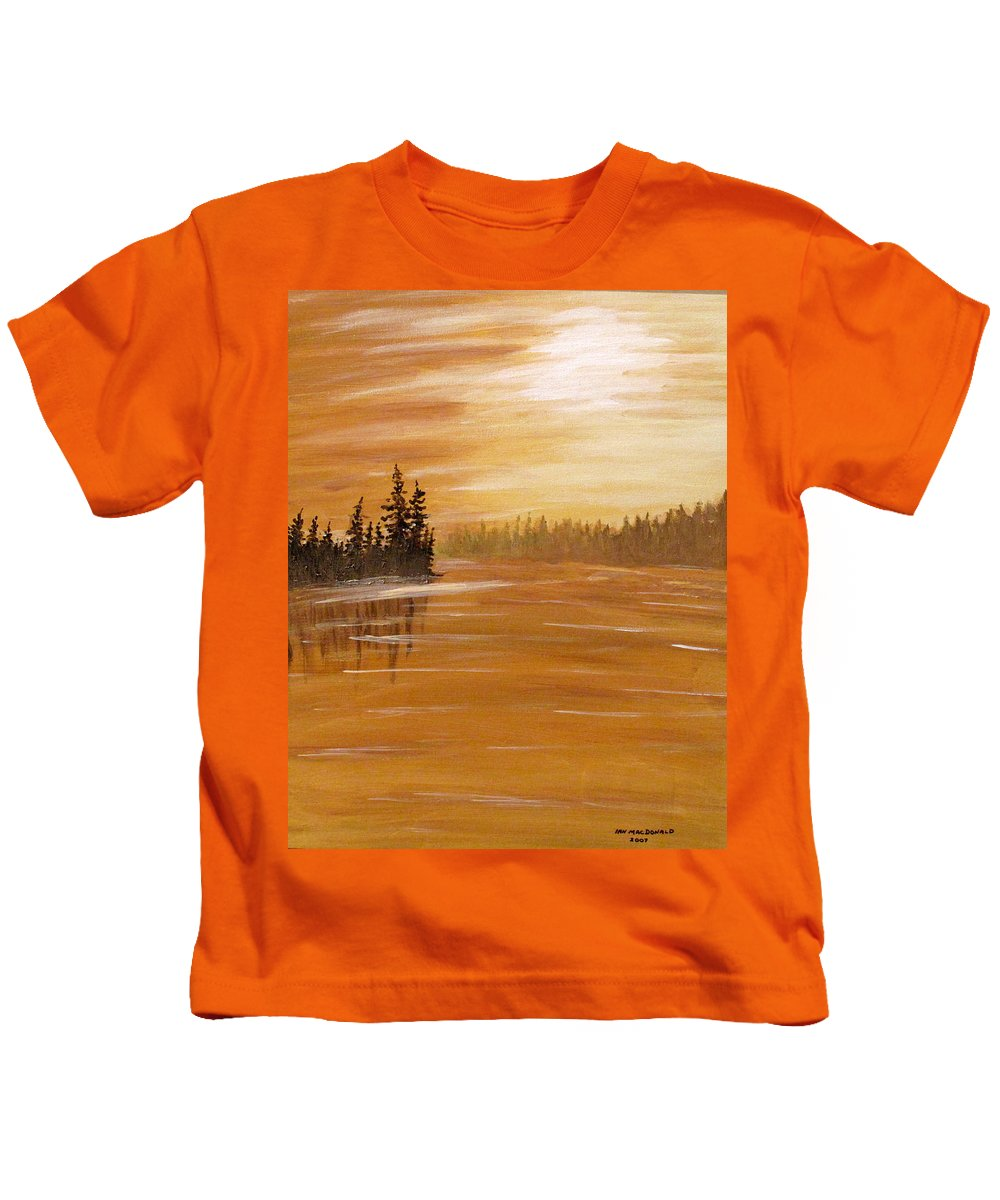 Northern Ontario Kids T-Shirt featuring the painting Rock Lake Morning 1 by Ian MacDonald
