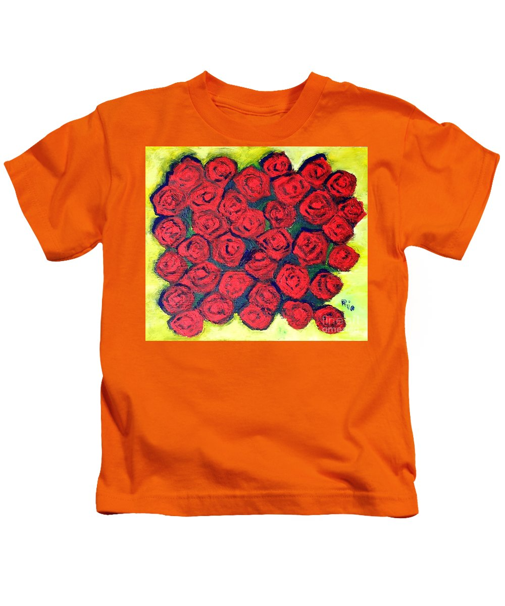 Red Kids T-Shirt featuring the painting Roses by J Nell Bliss