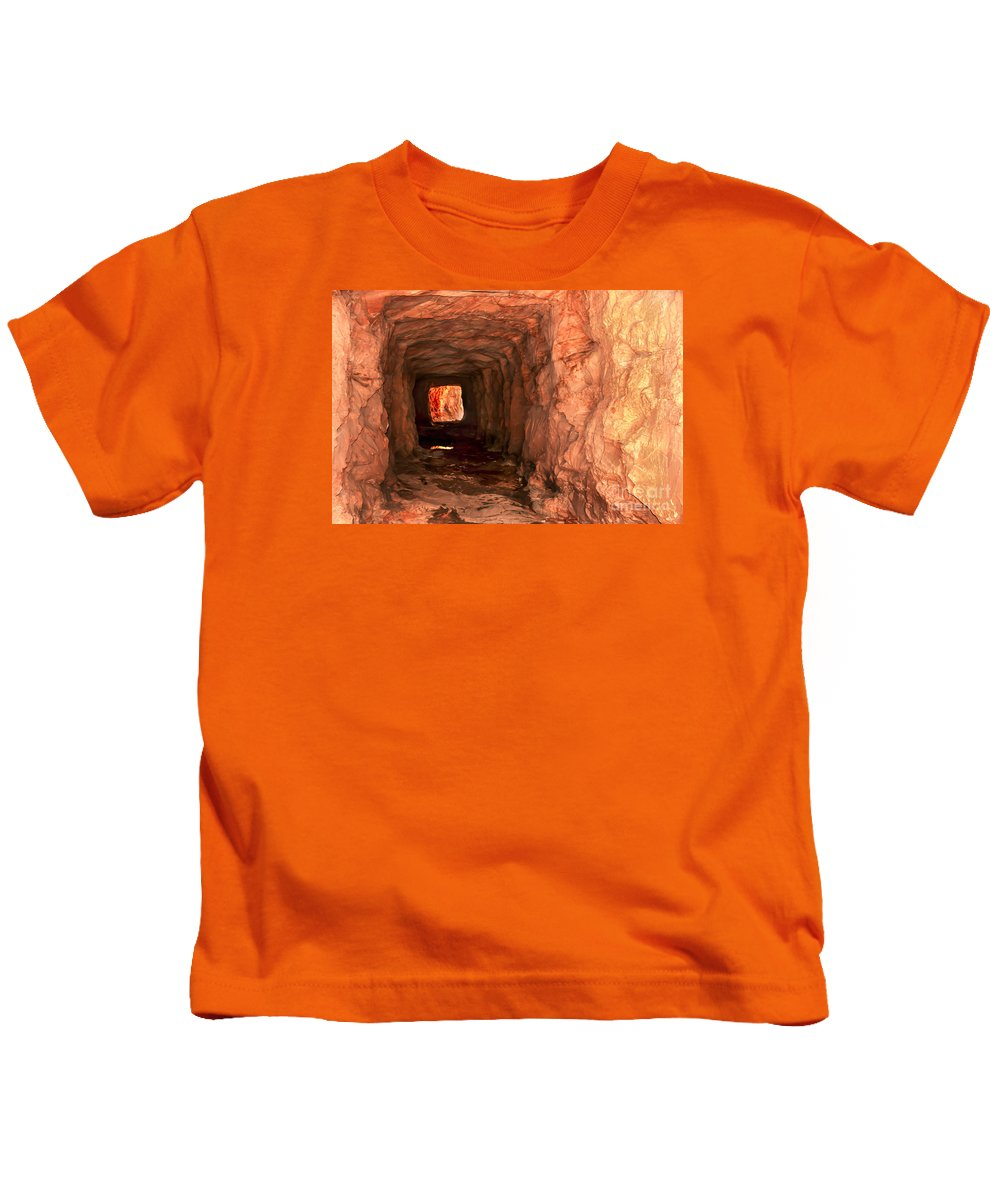 Zion National Parks Kids T-Shirt featuring the photograph Sandstone Tunnel by Robert Bales