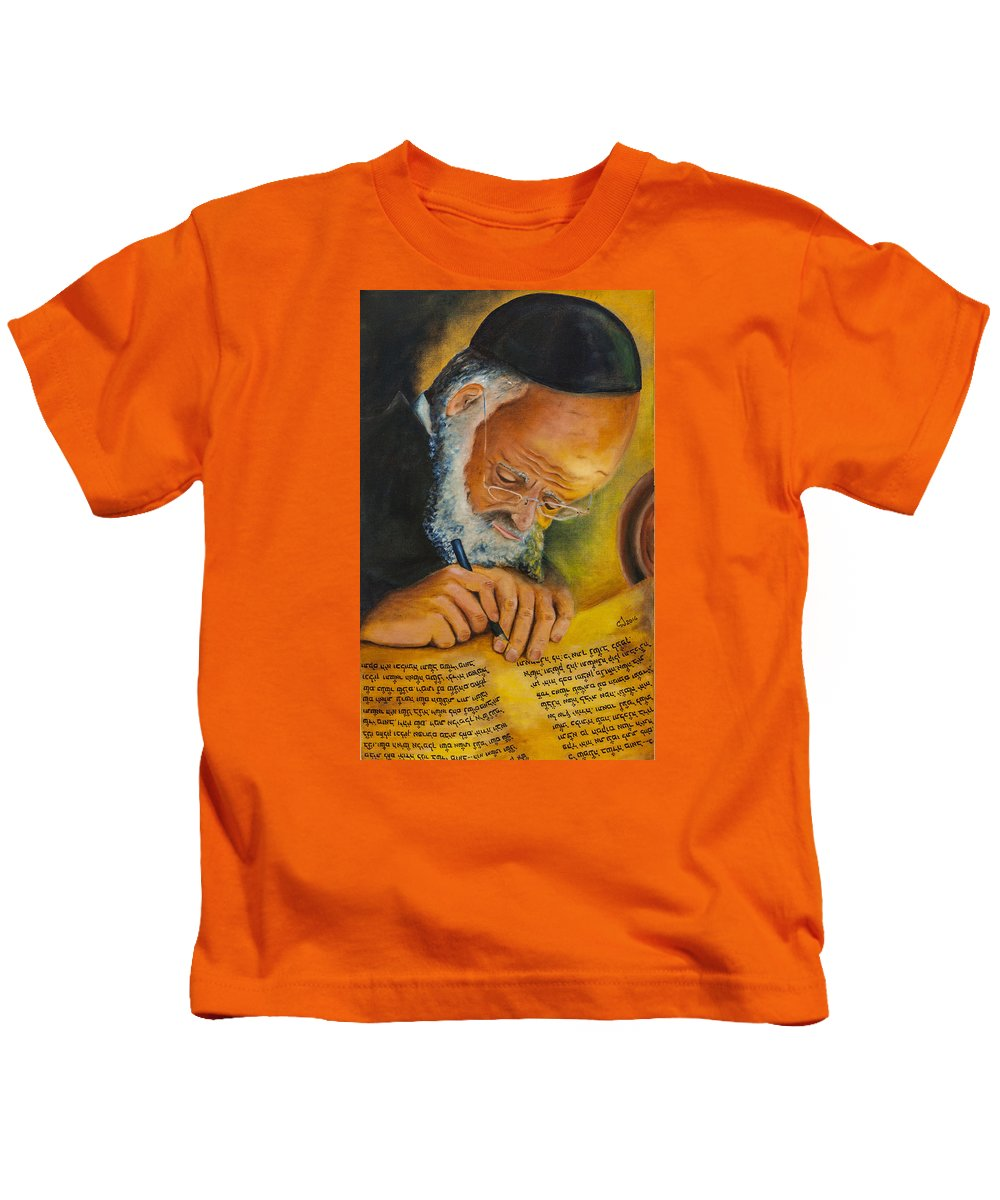 Sofer Stam Kids T-Shirt featuring the painting Sofer Stam by Music of the Heart