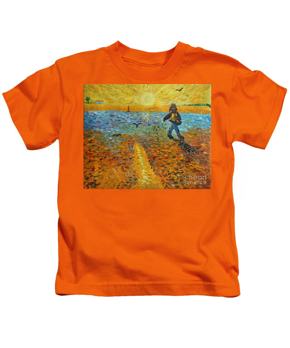 Impressionism Kids T-Shirt featuring the painting Sower Of Squiggles by Stefan Duncan
