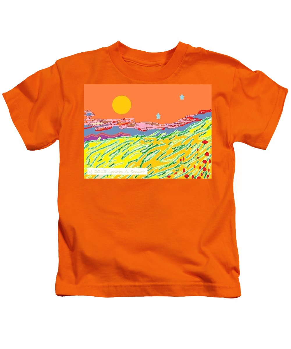 Abstract Kids T-Shirt featuring the digital art Splendor by Lenore Senior