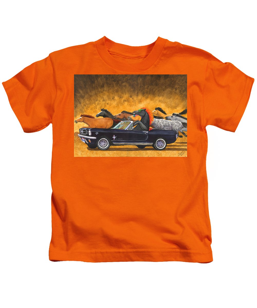 Mustang Kids T-Shirt featuring the painting Stang by Catherine G McElroy