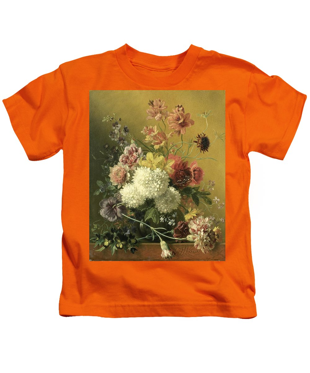 Van Os Kids T-Shirt featuring the painting Still Life With Flowers by Georgius van Os