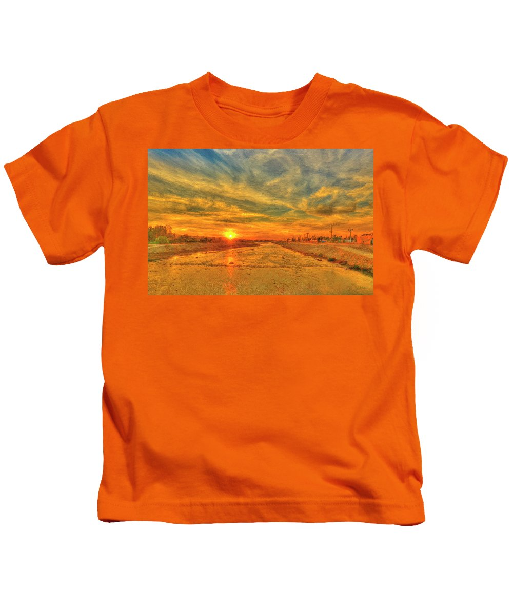 Sunset Kids T-Shirt featuring the painting Stormy Sunset Over Santa Ana River by Angela Stanton