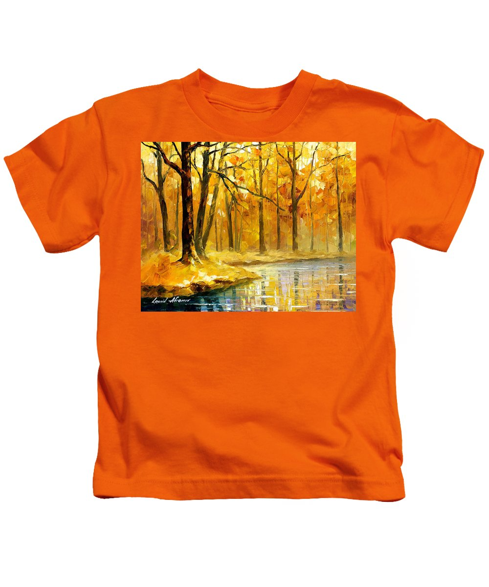 Oil Paintings Kids T-Shirt featuring the painting Stream In The Forest - Palette Knife Oil Painting On Canvas By Leonid Afremov by Leonid Afremov