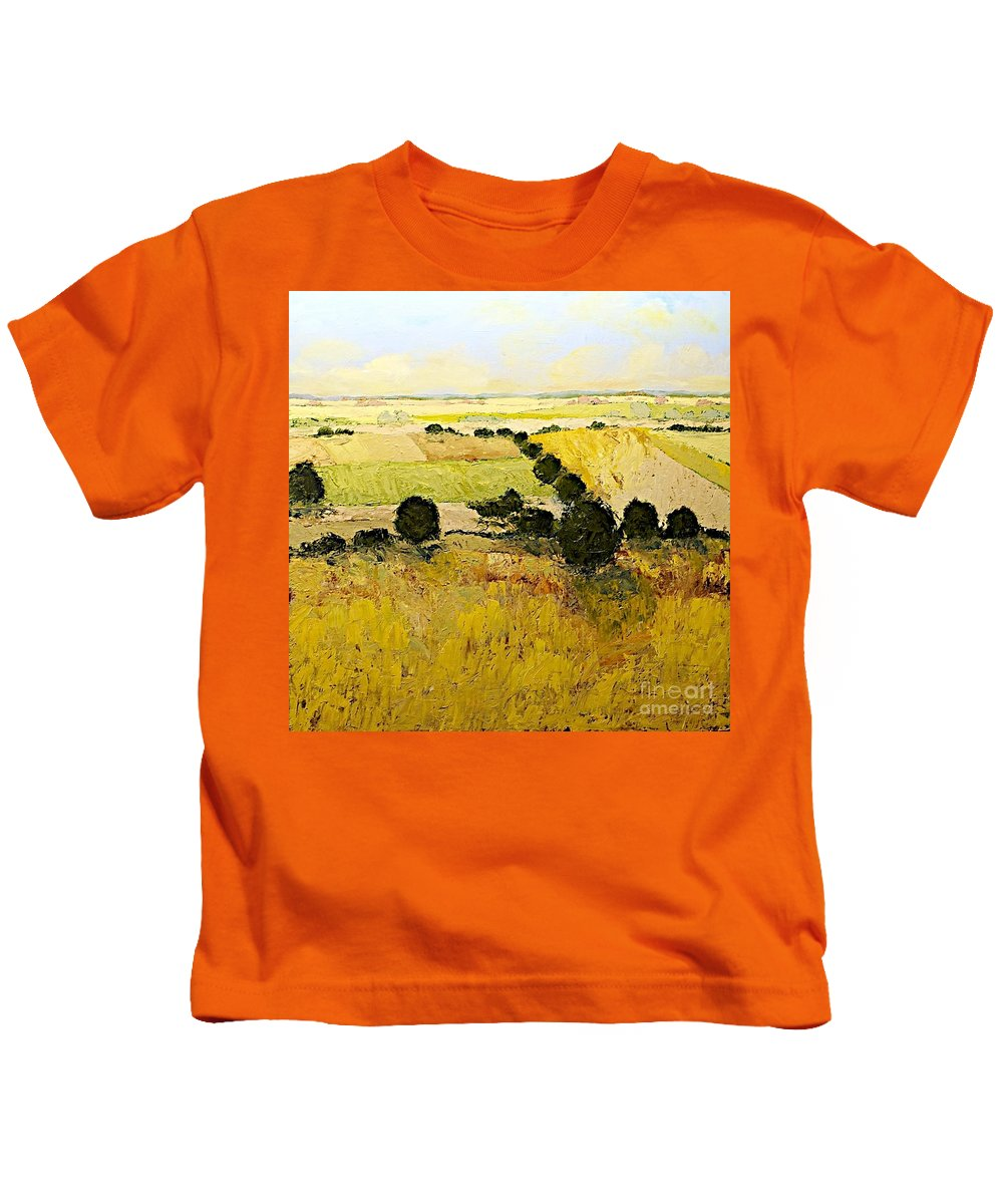Landscape Kids T-Shirt featuring the painting Summers End by Allan P Friedlander