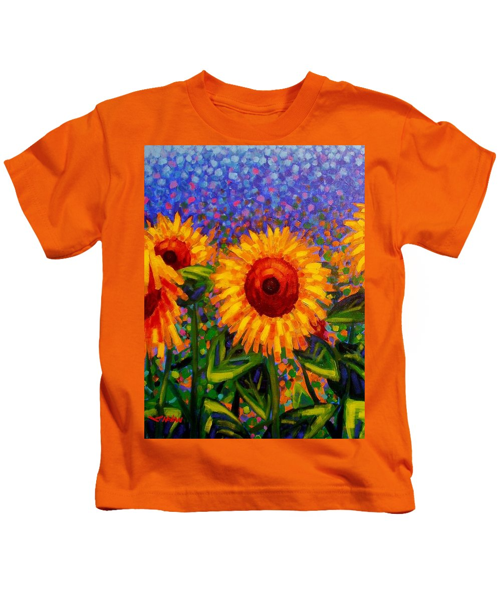 Irish Kids T-Shirt featuring the painting Sunflower Scape by John Nolan