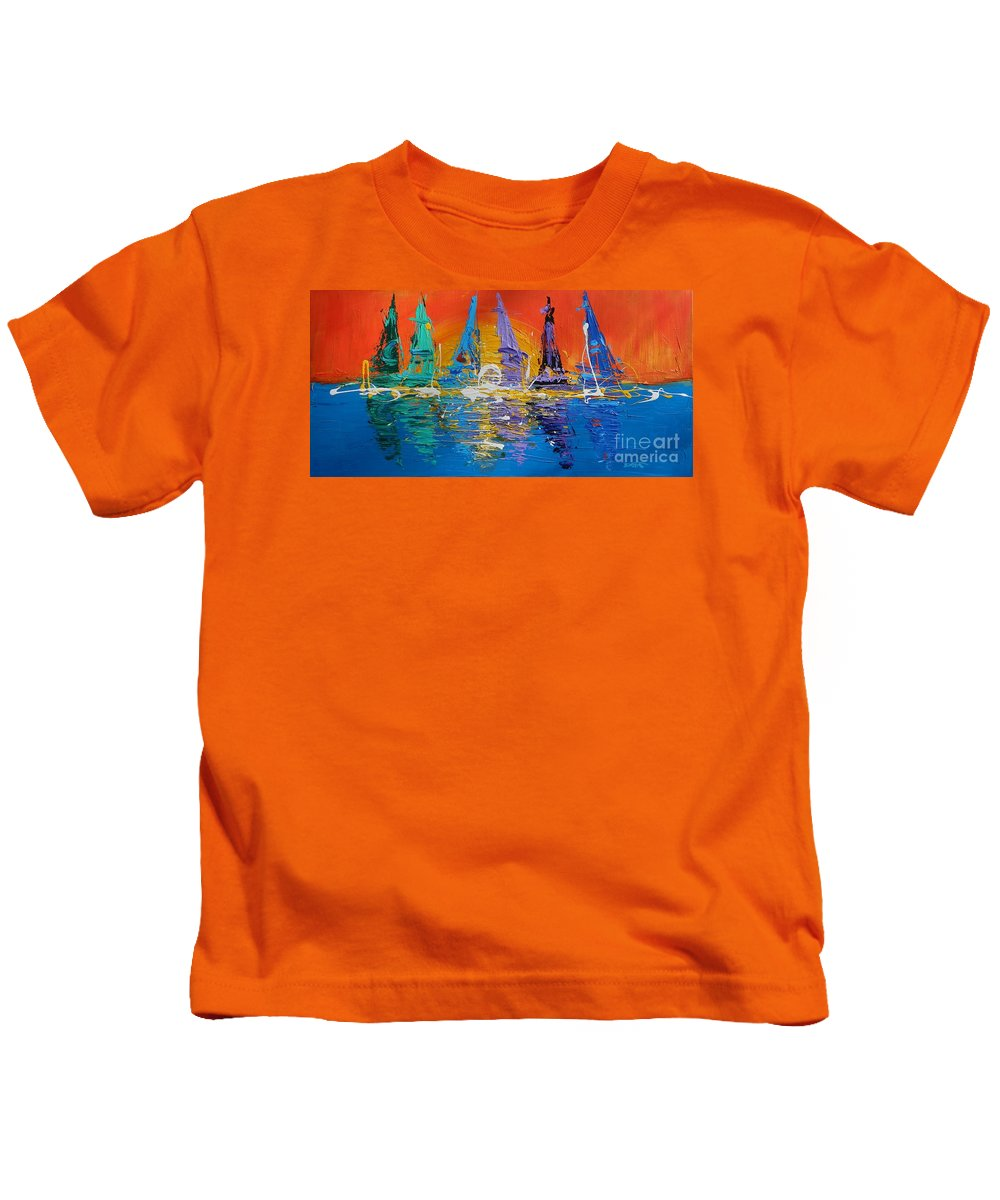 Sunrise Kids T-Shirt featuring the painting Sunrise Sail by Dan Campbell