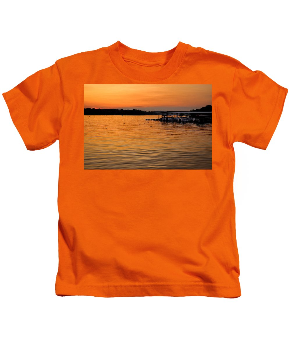 Tennessee Kids T-Shirt featuring the photograph Sunset Marina by Diana Powell