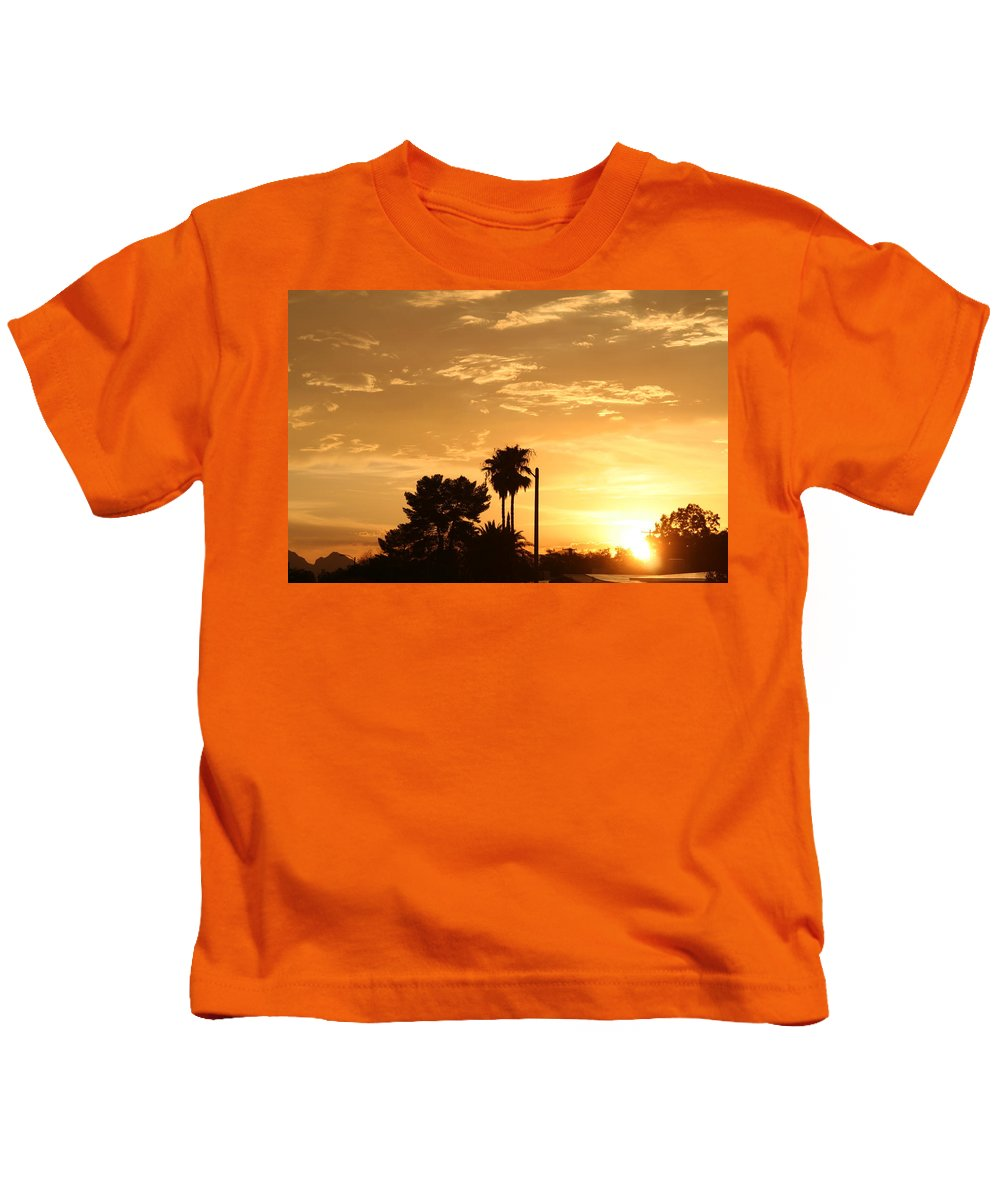 Sunset Kids T-Shirt featuring the photograph Sunset Sillouette by David S Reynolds