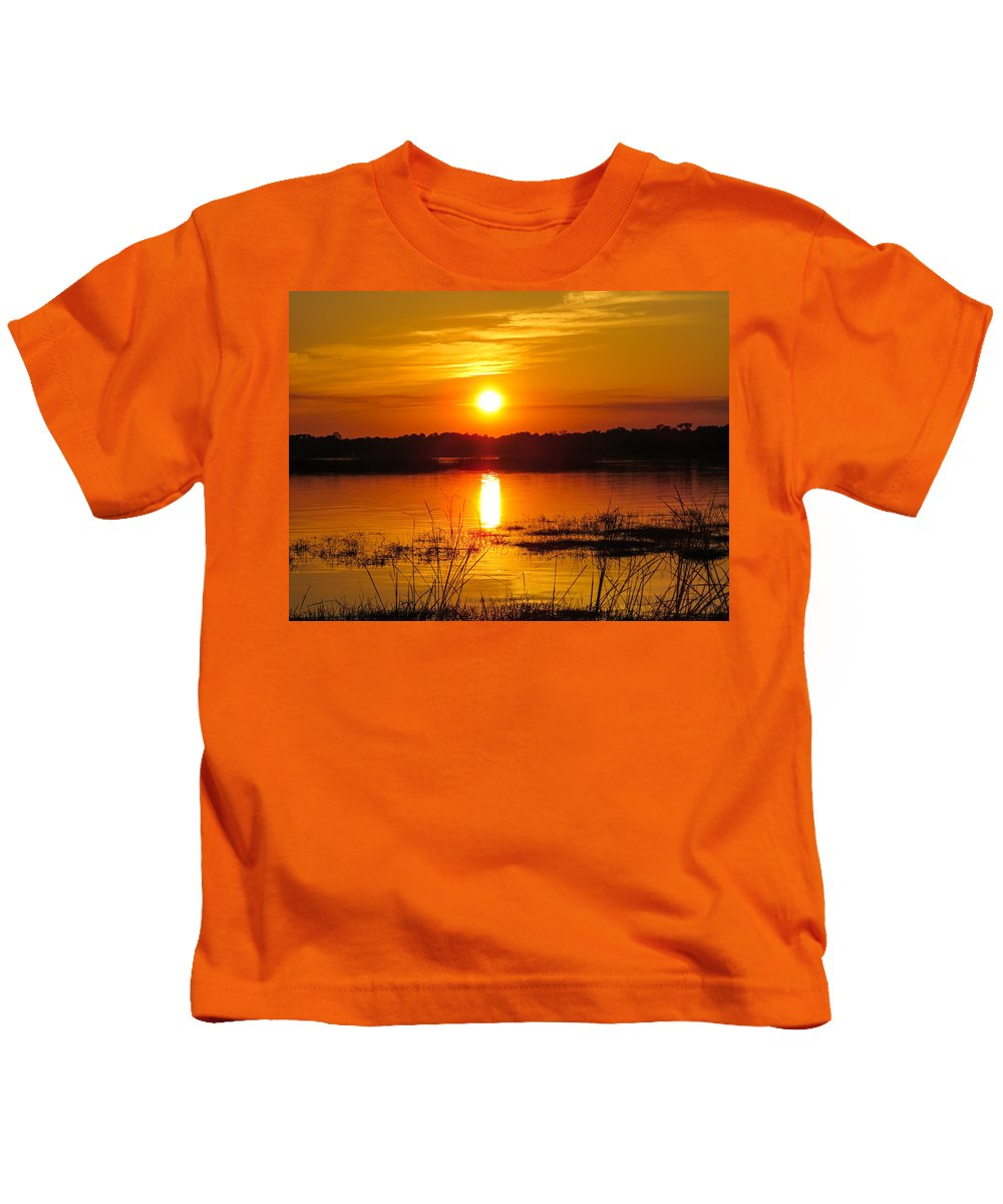 Sunset Kids T-Shirt featuring the photograph Sunset Walk In The Water by Zina Stromberg